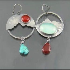 Handmade Meskwaki Indians moonstone earrings